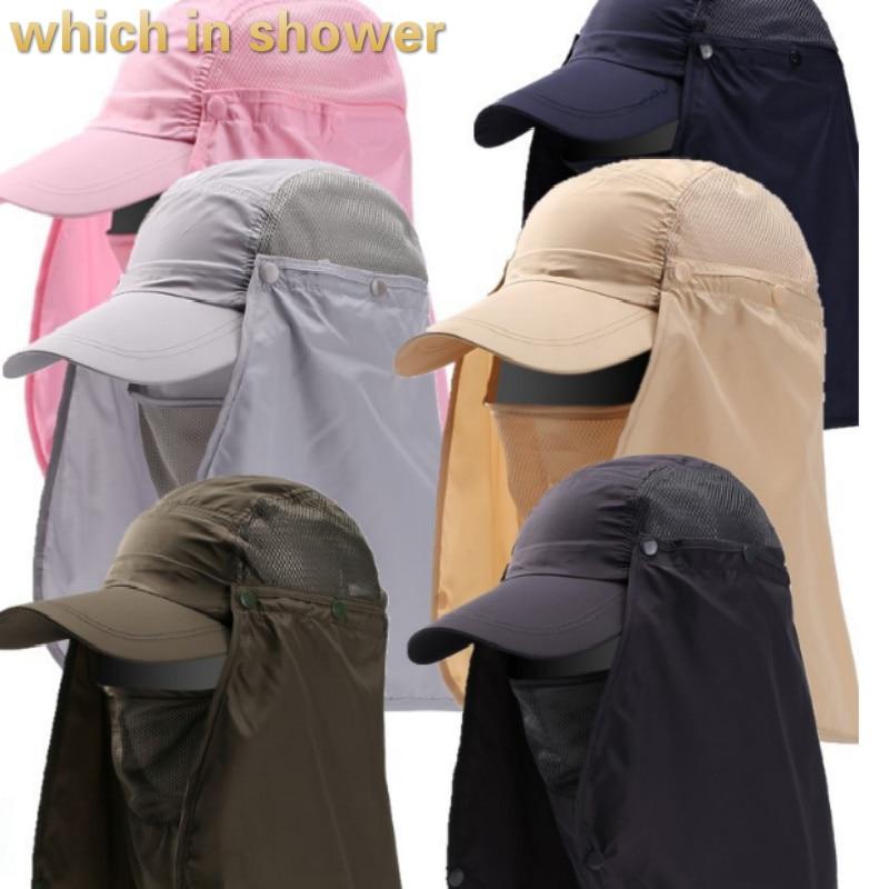 Qui dans la douche polyester soleil d'été chapeau pour femmes hommes cou visage couvrir le jardinage chapeau solide couleur unisexe snapback chapeau de pêche chapeau