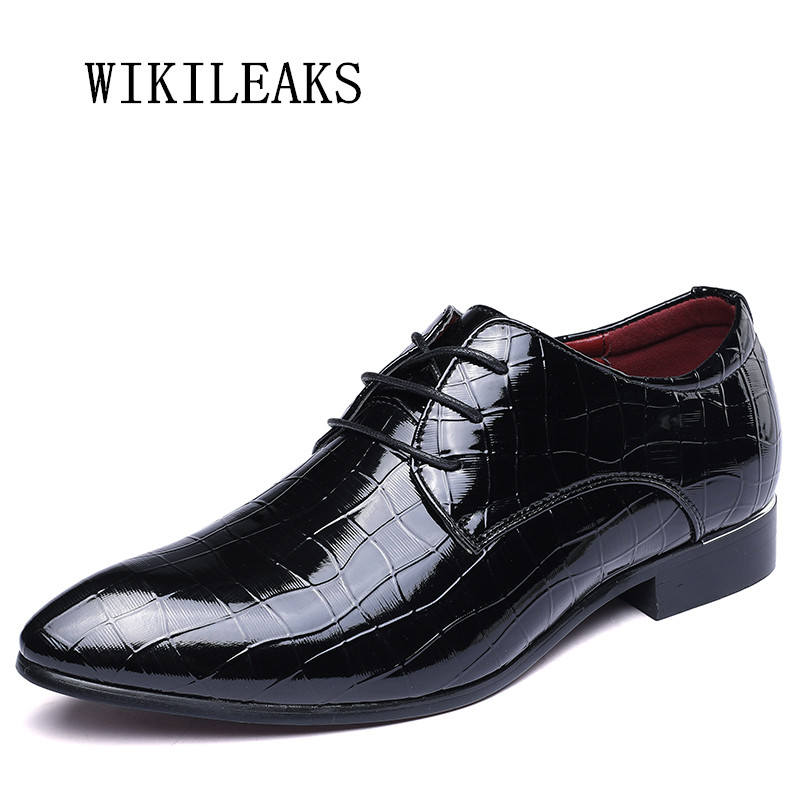 цена на italy pointed toe men shoes formal wedding dress shoes oxford shoes for men patent leather croco zapatos hombre sapato masculino