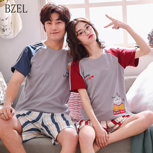 BZEL Couple Pajamas Set Summer Men And Women Short Sleeves Pyjamas Lov