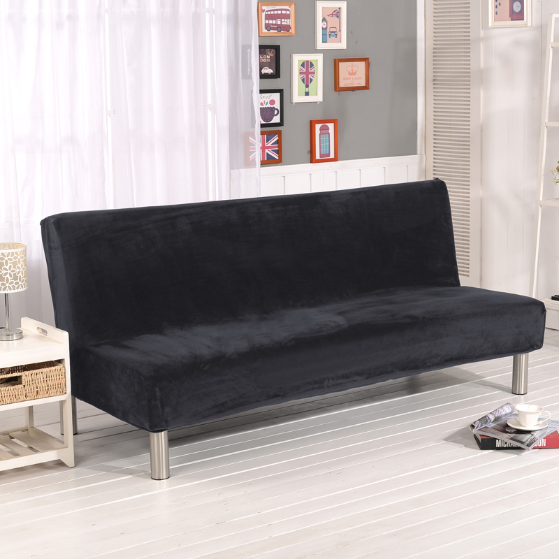 Plush fabric fold armless sofa bed cover folding seat for Sofa bed cover