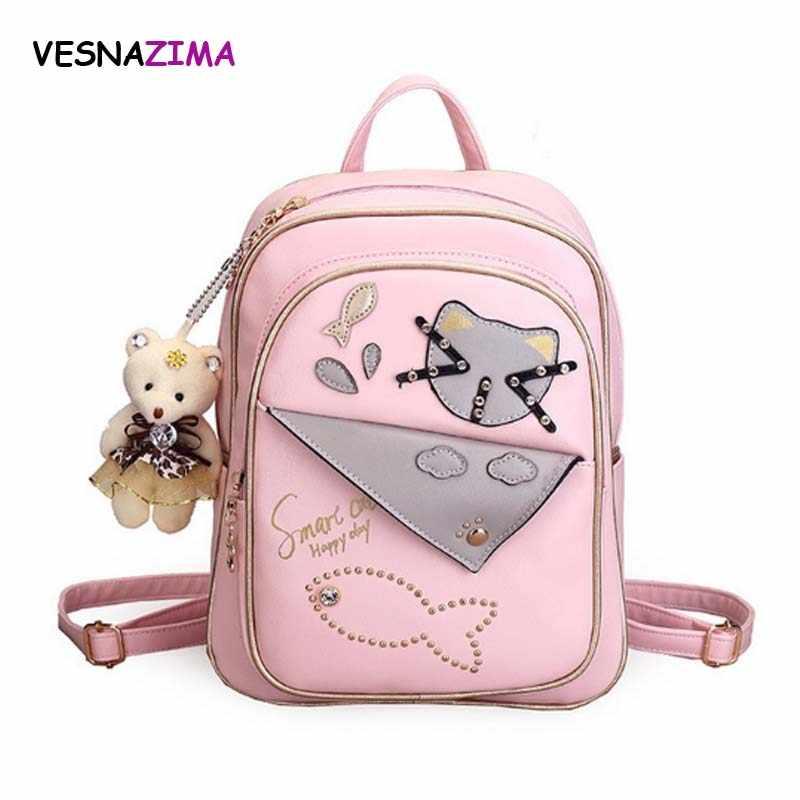 696ebfa3361 cat leather backpack female women small bag lovely cartoon school backpacks  kids mochila for girls black pink gray mochila WM48Z