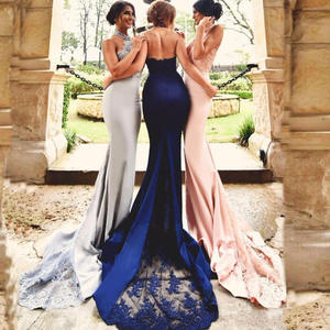 Bridesmaid-Dresses Backless Weddings HALTER Prom-Gowns Mermaid-Appliques Formal Long