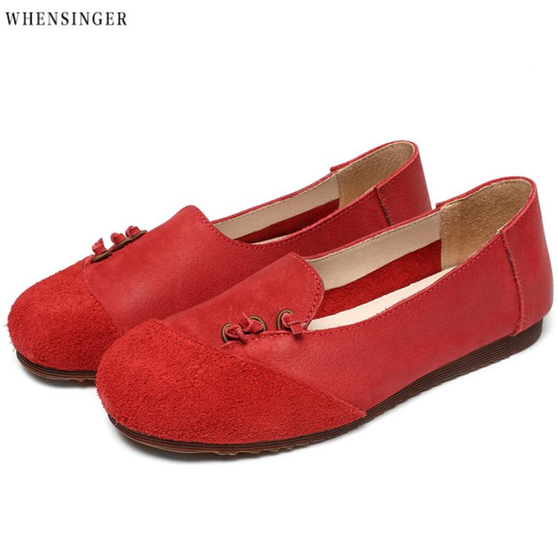 Whensinger - Women Flat Shoes loafers Genuine   Leather     Suede   Casual Driving Flats Shoe Vintage Elegant Fashion