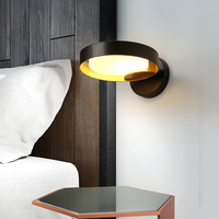 Contemporary White Black Round Wall Light Bedside Wrought Iron Sconce LED Suspension Lamp Rings Circle Hanging Light Living Room