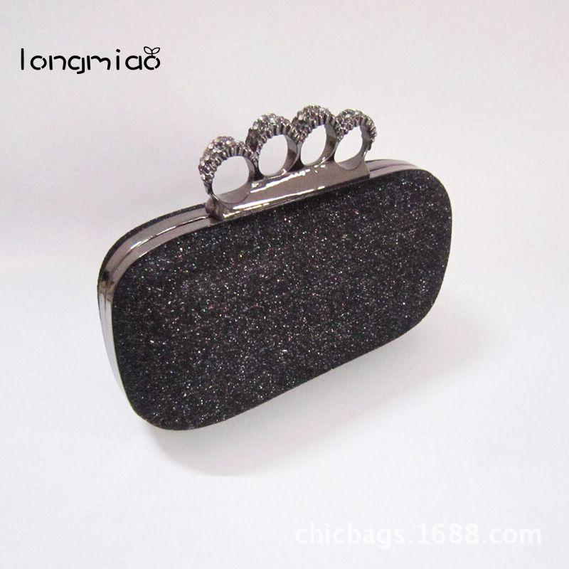 longmiao新しい到着スカル財布ナックルリングハンドバッグ女性スカルクラッチイブニングバッグショルダーチェーンクラッチバッグBolsas Femininas