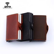 BISO GORO  Business RFID Crazy Horse Leather Mini Wallet Security Information Double Box Aluminum Credit Card Holder Metal Purse