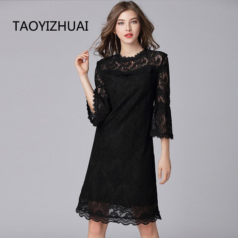 TAOYIZHUAI 2019 Autumn Women Balck Dress Large Size Hollow Out Flare Sleeve Collar Zipper Fly Casual Lace Dress For Women 16089