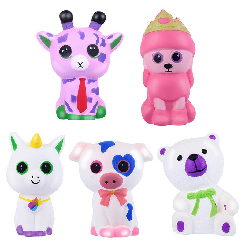 5pcs Adorable Animals Slow Rising Cream Squeeze Scented Stress Relief Toy  Squishi Gift For Baby Kid  F1