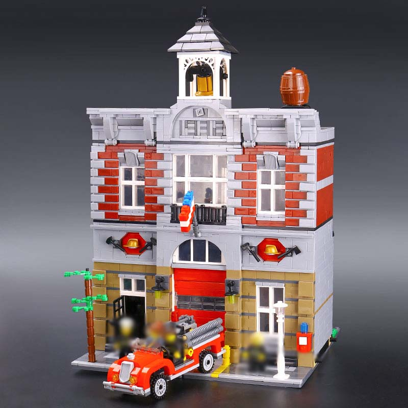 Lepin 15004 City Street Fire Brigade Model Building Kits Blocks Bricks Toy For Children Figures Gift Set legoINGlys With 10197