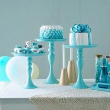 SWEETGO כחול עוגת Stand גבוהה רגל מתכת ברזל Cupcake כלים עבור קינוח שולחן קישוט חתונה ספקי צד מתוק אפייה