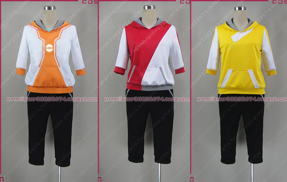 Pocket Monsters Game Pokemon Go Male female Trainer Avatar Anime Cosplay Costume red yellow orange coatume