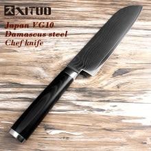 2017 New XITUO 7″ inch Santoku Kitchen Knife Japanese VG10 Steel Blade Sharp Damascus Cut Chef Cooking micarta Handle EDC tool