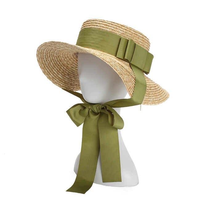 01905-handmade STRAW Bowknot Long Ribbon Lady Fedoras Beach Holiday Hat  Women Leisure Holiday Cap