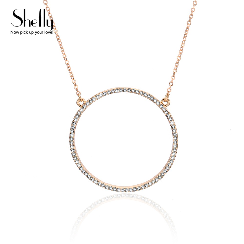 Shiny Paved Tiny Crysral Circle Round Necklaces For Women Jewelry Gold Silver Color Long Chain Necklaces & Pendants XL06053