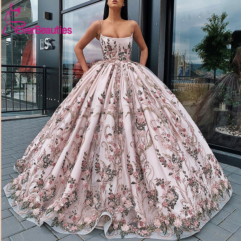 Long Prom Dress 2020 Gorgeous Spaghetti Straps Oman Handmade Lace Flowers Saudi Arabia Ball Gown Formal Evening Gowns