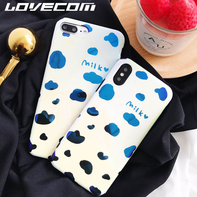 LOVECOM Blu-Ray Phone Case For iPhone 6 6S 7 8 Plus X Cool Cute Cow Milk pattern Soft IMD Phone Back Cover Cases High Quality