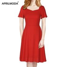 f679b963b Vestido de gasa Retro Vintage elegante para mujer de manga corta cuello  cuadrado negro rojo fiesta