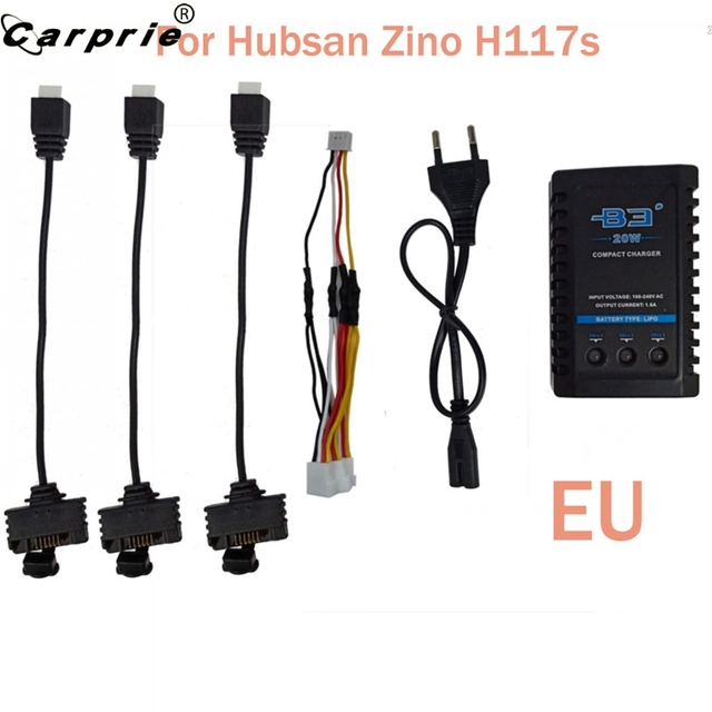 CARPRIE EU 드론 배터리 Hubsan Zino H117S 쿼드 캅터 배터리 B3 충전기 90606 용 3 개의 케이블 어댑터 충전
