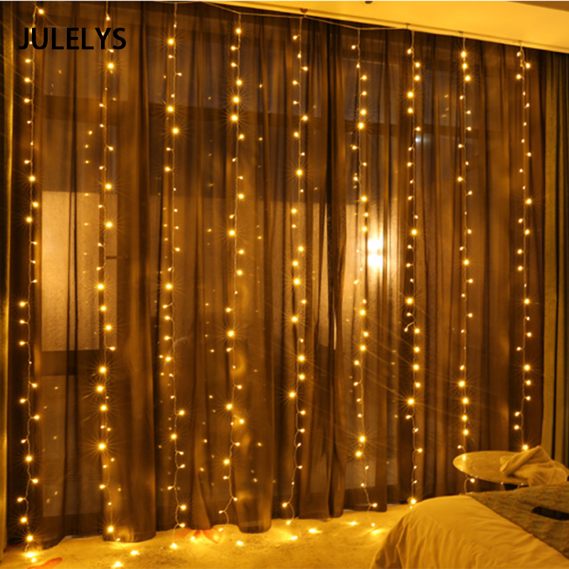 JULELYS 4 x 2M 256 LED Curtain Icicle String Lights Christmas Fairy Lights Outdoor Holiday Party Garland For Wedding Decorations 4 5m icicle string lights outdoor holiday christmas decorative wedding xmas fairy lights for curtain garland strip party light