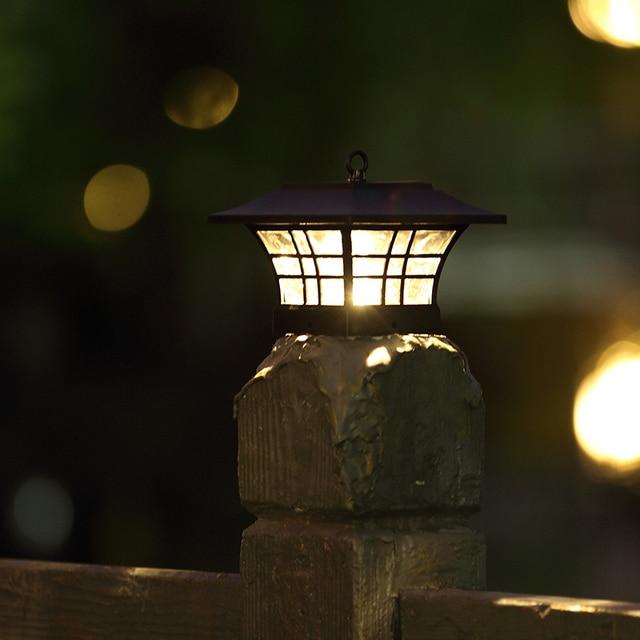 Metal Post Cap Garden Light Outdoor Luz Led Solar Jardim For Backyard Villa Path Wall Gl