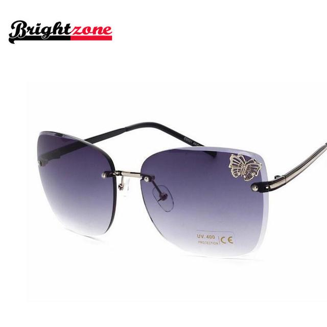 Marca de luxo designer óculos de sol UV400 mulheres borboleta dragão rodada óculos de sol nova chegada sem aro excelente ME9001 de grandes dimensões