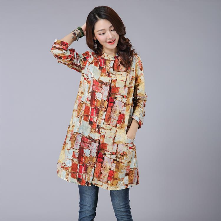 7e260a33af0b5 Printed Long Sleeve Blouses for Women shirts blouses women