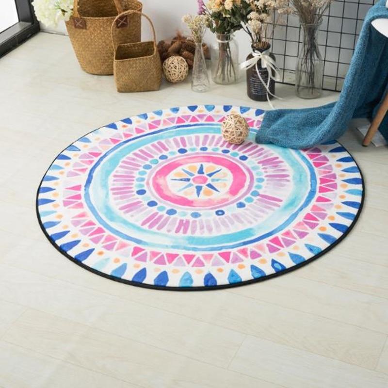 Nordic children Carpets flower Round Rugs Living Room Doormat Cartoon Carpets Door Floor Mat for Bedroom colorful kid playmat