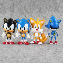 4Pcs/Set 7~8cm The Hedgehog Sonic Tails Shadow PVC Action Figure Toy Sonic Figures Dolls Toys Great Gifts