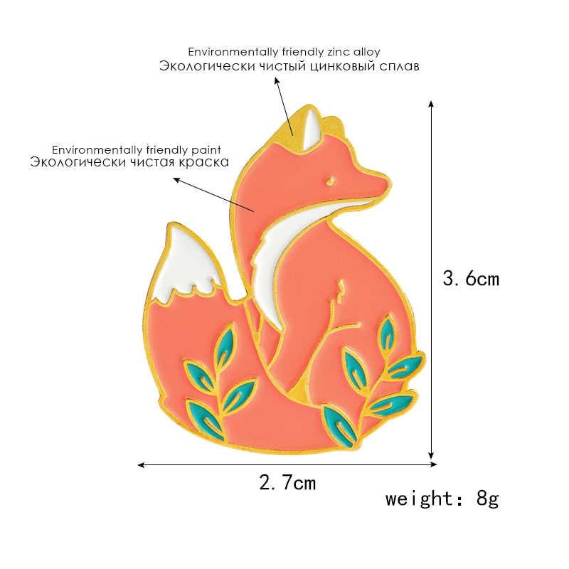 Creative Volpe Rossa Spilla In Argento Dorato Foresta Animale Carino Fox Badge Spilla Bambino Cartone Animato Animale Gioielli Regalo di San Valentino Giffts