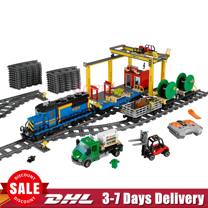 2018 In Stock DHL Lepin 02008 959Pcs Cargo Train Set Genuine City Series 60052 Building Blocks Bricks Educational Toys lepin 02008 the cargo train 959pcs city series legoingly 60052 plate sets building nano blocks bricks toys for boy gift