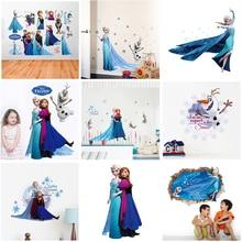 De dibujos animados de Disney congelado princesa pared pegatinas para niños habitaciones de guardería casa decoración Elsa Anna calcomanías de pared de Pvc arte mural bricolaje carteles