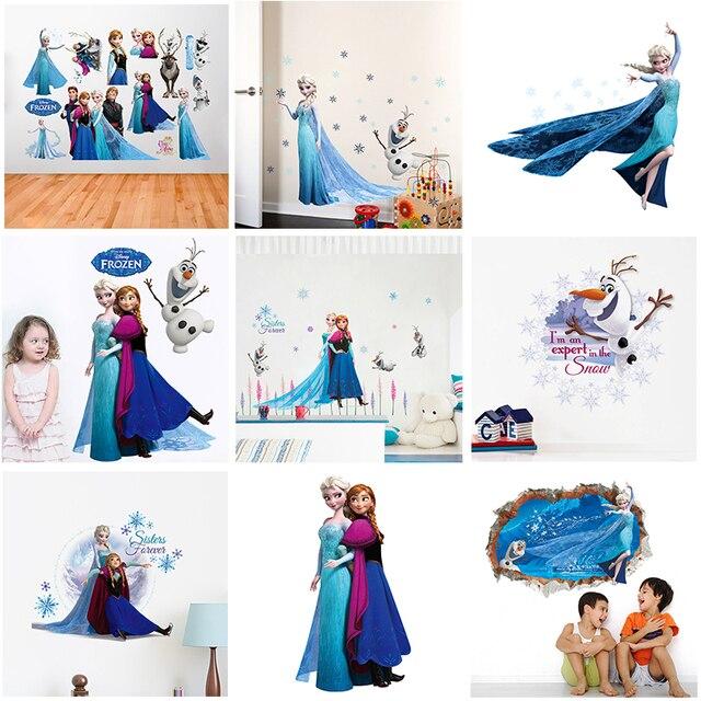 Cartoon Disney mrożone księżniczka naklejki ścienne na pokoje dla dzieci wystrój pokoju dziecięcego Elsa Anna naklejki ścienne tapeta pcv plakaty do samodzielnego wykonania