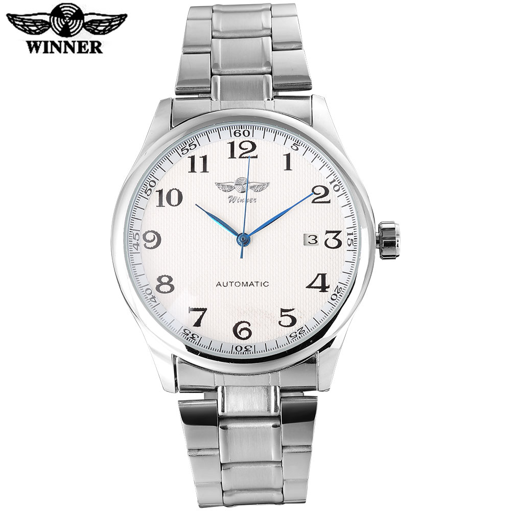 WINNER fashion casual men machanical watches stainless steel band silver case luxury automatic wristwatches relogio masculino winner fashion men mechanical watches leather strap silver case new casual brand analog automatic wristwatches relogio masculino
