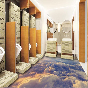 beibehang Modern Custom 3D floor mural Boundless sky clouds non-slip waterproof thickened self-adhesive PVC Wallpaper цена 2017