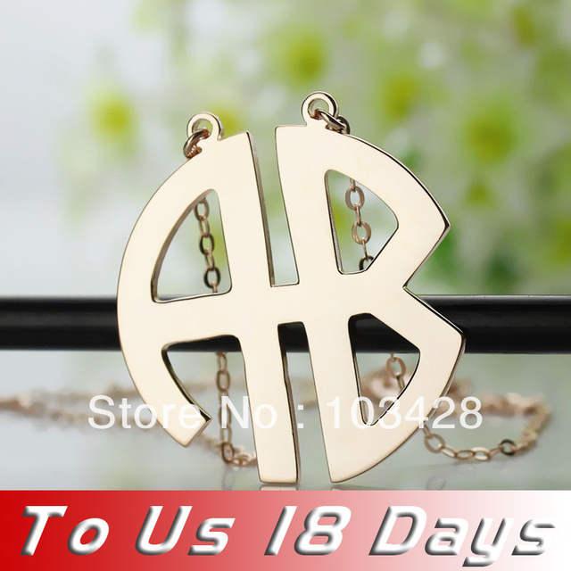 251f6f441e88 placeholder AILIN 2 letras del monograma del bloque del collar Color rosa  en Oro dos iniciales placa