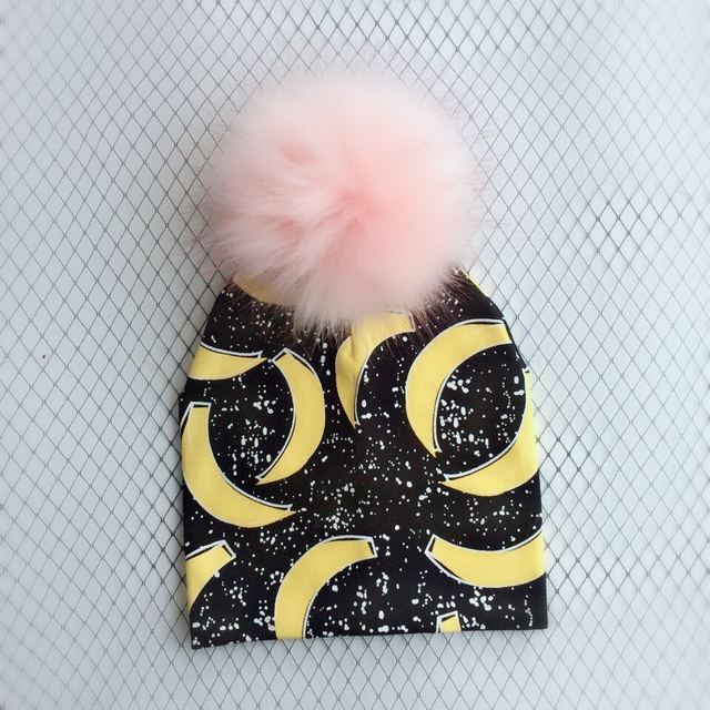 Winter Hat for Babies with Cute Patterns and Faux Fur Pom Pom