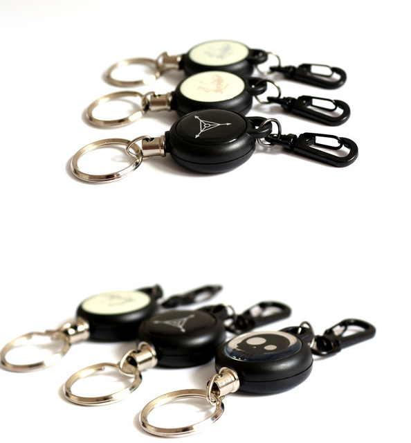 High Strength Steel Wire Pull Keyring Name Tag Card Holder Recoil ...