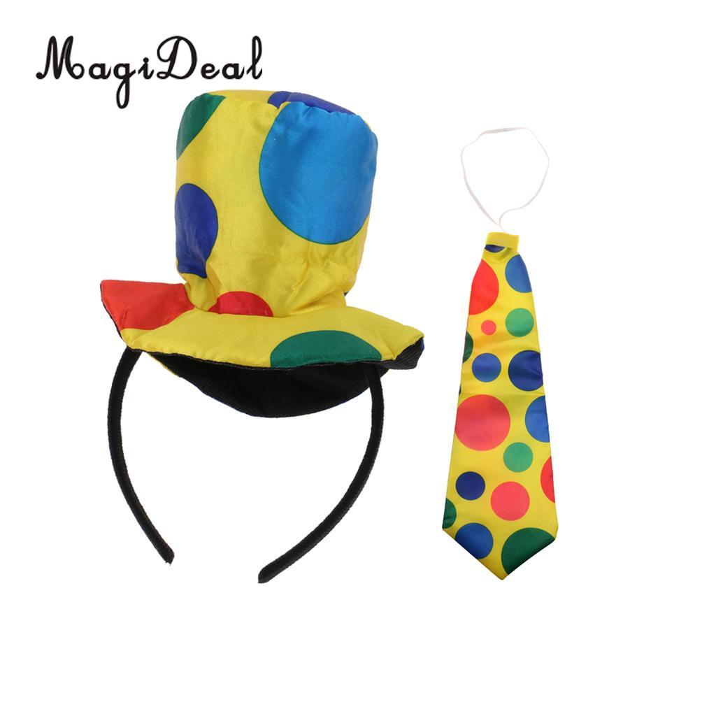 Girls Women Jumbo Polka Dots Necktie+Headband Clown Circus Party Fancy Dress