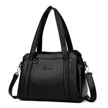 Женские кожаные сумки с 3 карманами, брендовая роскошная дизайнерская женская сумка через плечо, вязанная модная повседневная сумка-тоут для дам