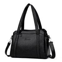80a848f3640 3 Pockets Women Leather Handbags 2018 Brand Luxury Designer Female Shoulder  Bag Knitting Fashion Casual Tote