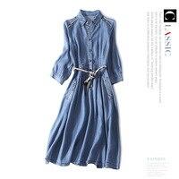 Runway denim dress new 2018 designers brand half sleeve A line dress turn down collar women autumn dress