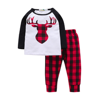 2Pcs Spring Autumn Casual Toddler Boys Sets Black White Deer Long Sleeve Cotton T Shirt Red