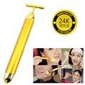 Adelgazar La Cara 24 k Oro Rodillo de Belleza Facial Masajeador de Vibración Palo Estiramiento de La Piel Arrugas Stick Bar Cara Cuidado de La Piel