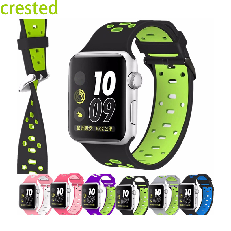 CRESTED Silicone strap for apple watch band 42 mm/38 bracelet Silicone watchband for iwatch 1/2/3 With  Stainless steel Adapter crested protective case with strap for apple watch band 42 mm 38 mm wrist bracelet rubber watchband cover for iwatch series 2 1