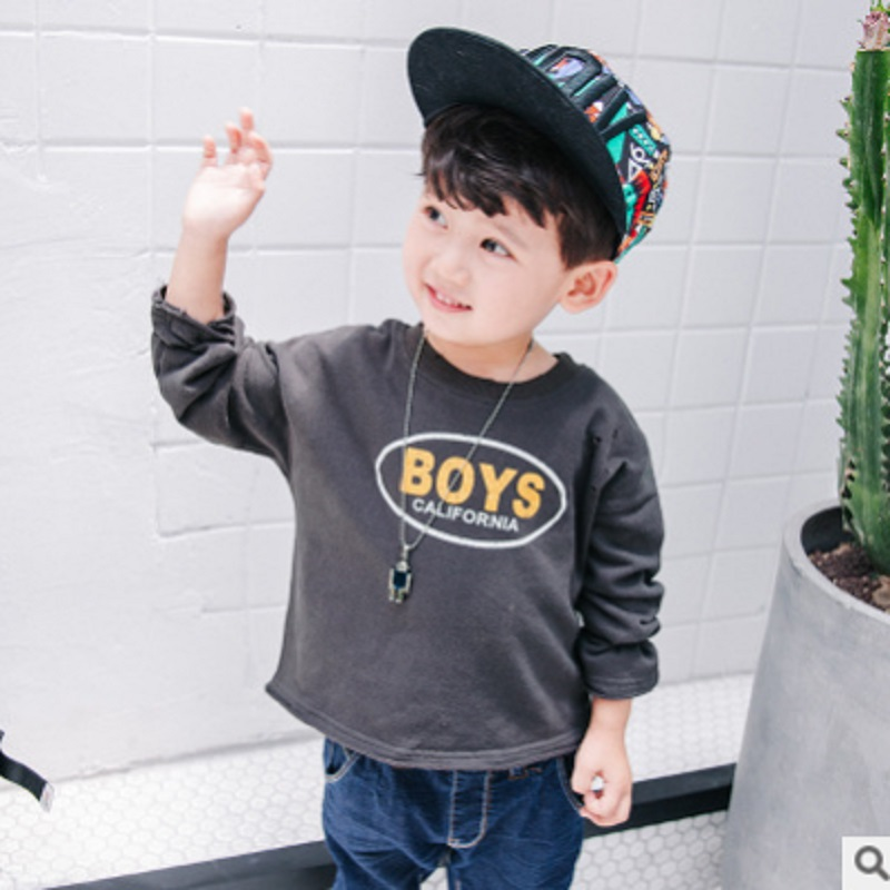 Childrens Hoody Boys T-shirt 2018 New Autumn Kids Long Sleeve Letter Fashion Leisure Cute Hoodies 3 Solid Colors Size3-10 ly369