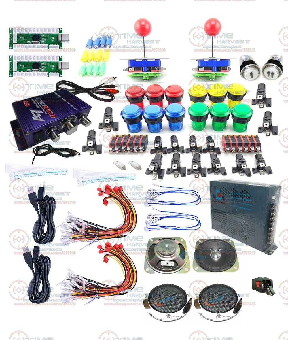 Arcade Game Joystick DIY Kits with Zero Delay LED USB Encoder Long shaft Joystick LED Illuminated Button Amplifier Power Supply цена