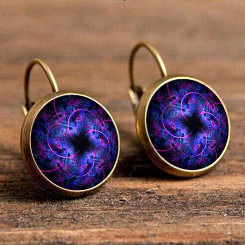 Boho Resin Purple Mandala Drop Earring for Women Vintage Pendientes Etnicos Mujer Moda Earings Fashion Indian Jewelry 2018 Gift