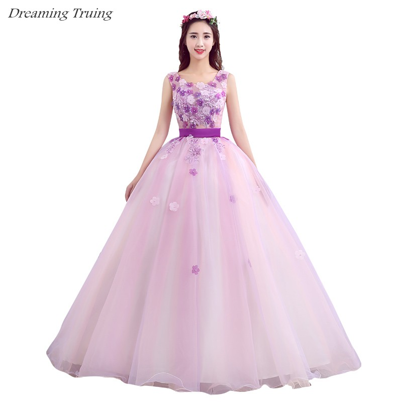 Cheap Ball Gown Light Purple Quinceanera Dress Vestidos 15 Anos 2019 Tulle 3D Flowers In Stock Vestidos De Quincianera