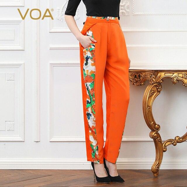 VOA Heavy Silk Plus Size 5XL Harem Pants Office Trouser Women Orange Print Boho Casual High Waist Slant Pocket Spring K302