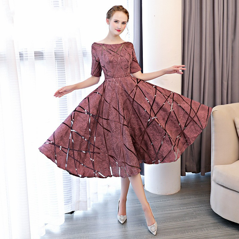 Beauty Emily Luxury O-Neck Half Sleeve Embroidery Zipper   Cocktail     Dresses   A-line Tea Length Formal   Dress   Short Formal   Dresses